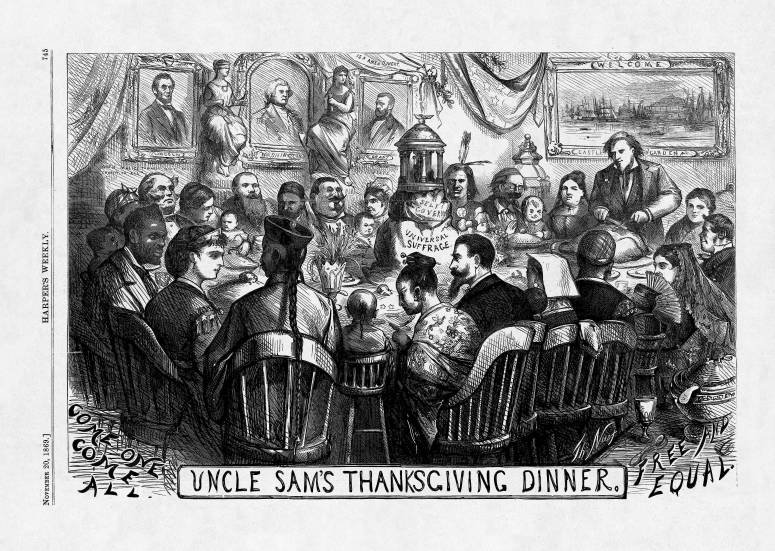 "Thomas Nast's ""Uncle Sam's Thanksgiving,"" 1869 - Ohio State University's cartoon collection"